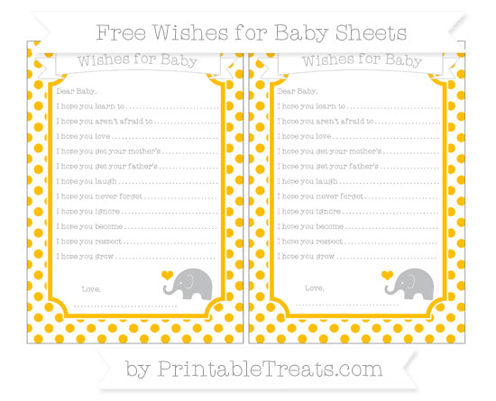 Free Amber Dotted Pattern Baby Elephant Wishes for Baby Sheets