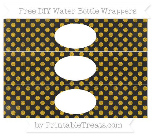 Free Amber Dotted Pattern Chalk Style DIY Water Bottle Wrappers