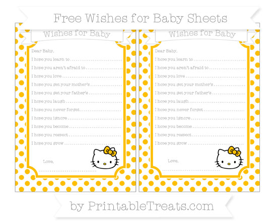 Free Amber Dotted Pattern Hello Kitty Wishes for Baby Sheets