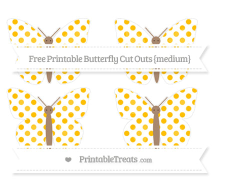Free Amber Dotted Pattern Medium Butterfly Cut Outs