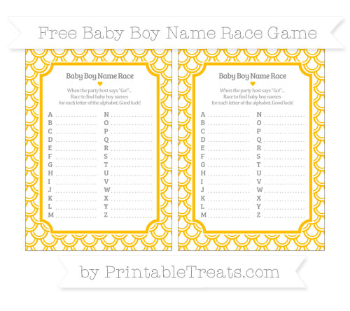 Free Amber Fish Scale Pattern Baby Boy Name Race Game