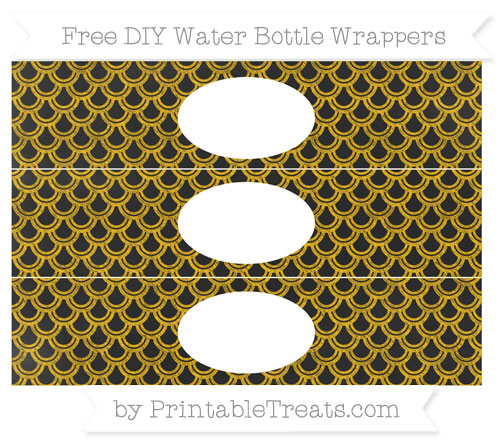 Free Amber Fish Scale Pattern Chalk Style DIY Water Bottle Wrappers