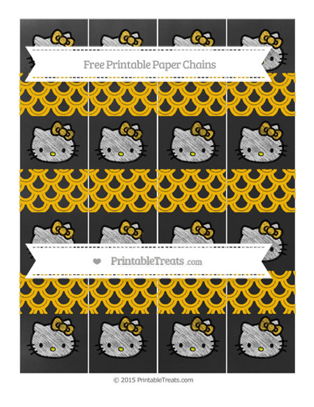 Free Amber Fish Scale Pattern Chalk Style Hello Kitty Paper Chains