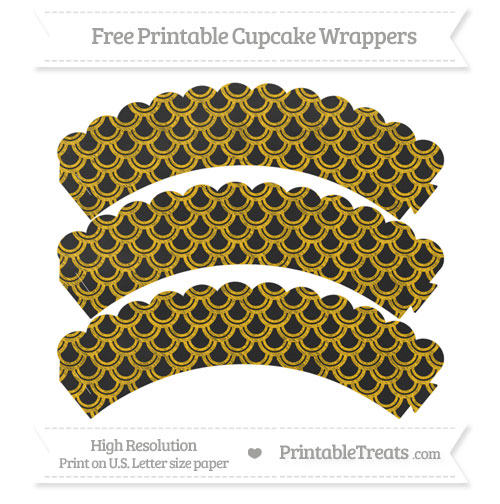Free Amber Fish Scale Pattern Chalk Style Scalloped Cupcake Wrappers