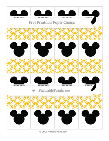 Free Amber Fish Scale Pattern Mickey Mouse Paper Chains