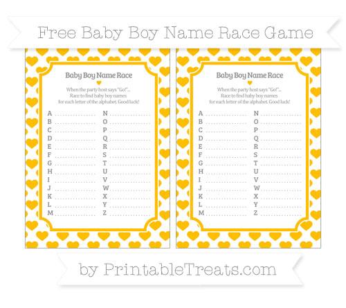Free Amber Heart Pattern Baby Boy Name Race Game