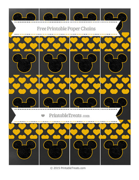Free Amber Heart Pattern Chalk Style Mickey Mouse Paper Chains