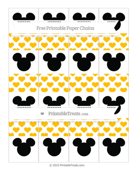 Free Amber Heart Pattern Mickey Mouse Paper Chains