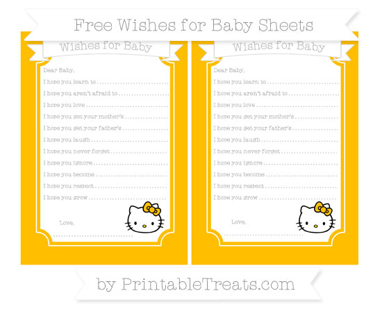 Free Amber Hello Kitty Wishes for Baby Sheets