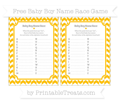 Free Amber Herringbone Pattern Baby Boy Name Race Game