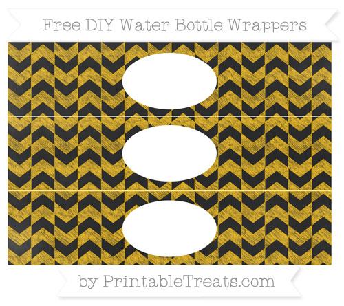 Free Amber Herringbone Pattern Chalk Style DIY Water Bottle Wrappers
