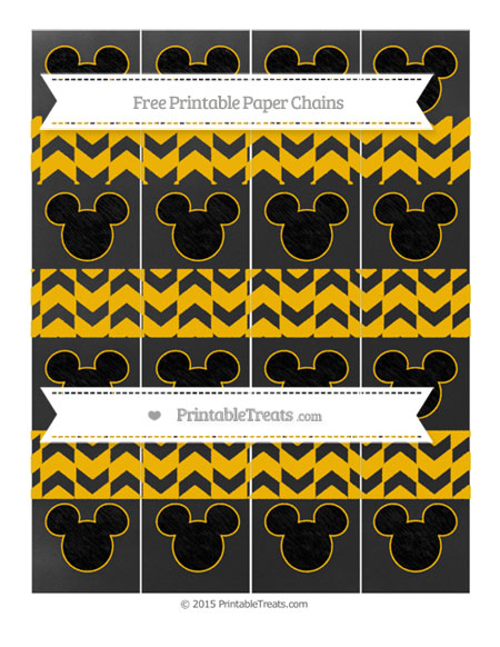 Free Amber Herringbone Pattern Chalk Style Mickey Mouse Paper Chains