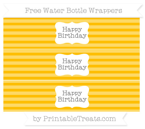 Free Amber Horizontal Striped Happy Birhtday Water Bottle Wrappers