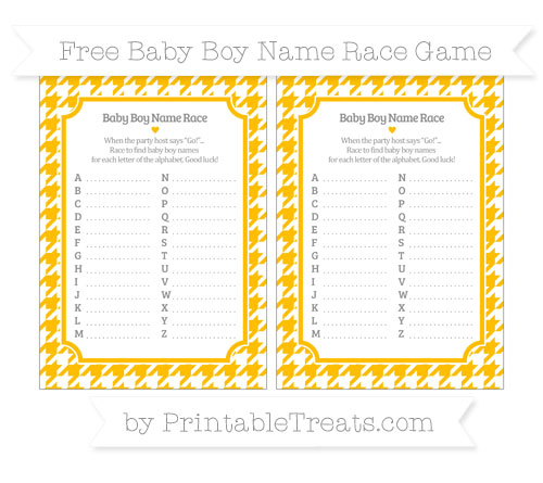 Free Amber Houndstooth Pattern Baby Boy Name Race Game