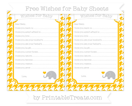 Free Amber Houndstooth Pattern Baby Elephant Wishes for Baby Sheets