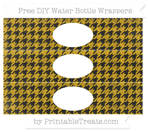 Free Amber Houndstooth Pattern Chalk Style DIY Water Bottle Wrappers