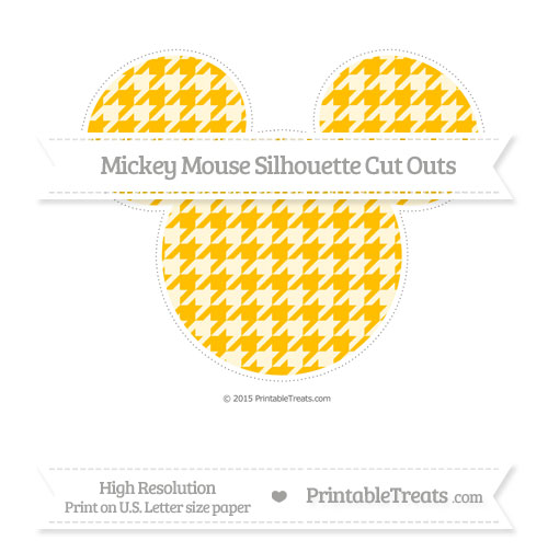 Free Amber Houndstooth Pattern Extra Large Mickey Mouse Silhouette Cut Outs