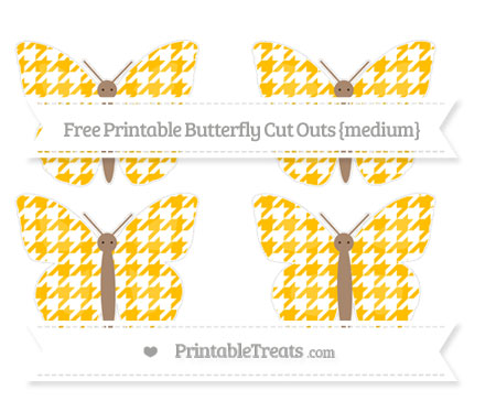 Free Amber Houndstooth Pattern Medium Butterfly Cut Outs