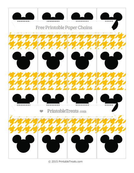 Free Amber Houndstooth Pattern Mickey Mouse Paper Chains