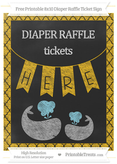 Free Amber Moroccan Tile Chalk Style Baby Whale 8x10 Diaper Raffle Ticket Sign