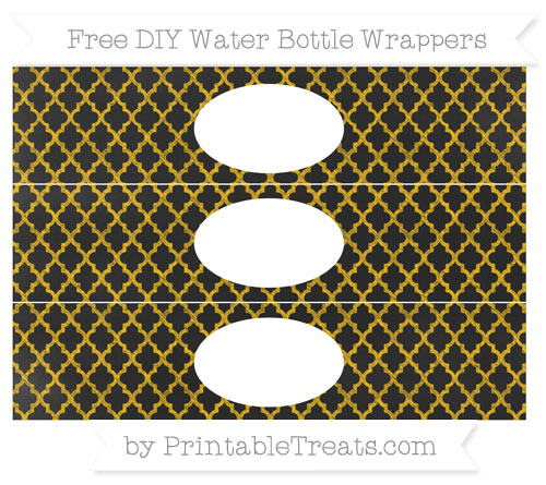Free Amber Moroccan Tile Chalk Style DIY Water Bottle Wrappers