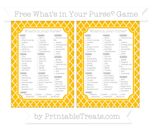 Free Amber Moroccan Tile What's in Your Purse Baby Shower Game