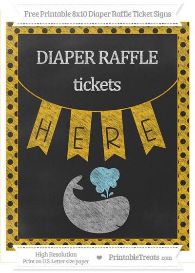 Free Amber Polka Dot Chalk Style Whale 8x10 Diaper Raffle Ticket Sign