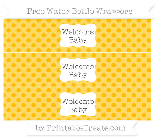 Free Amber Polka Dot Welcome Baby Water Bottle Wrappers