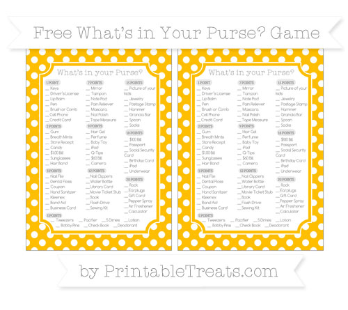 Free Amber Polka Dot What's in Your Purse Baby Shower Game