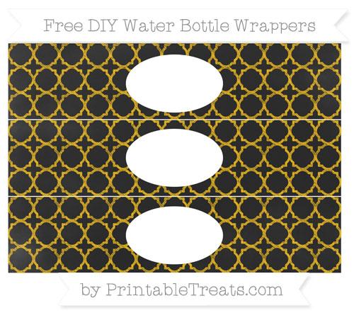 Free Amber Quatrefoil Pattern Chalk Style DIY Water Bottle Wrappers