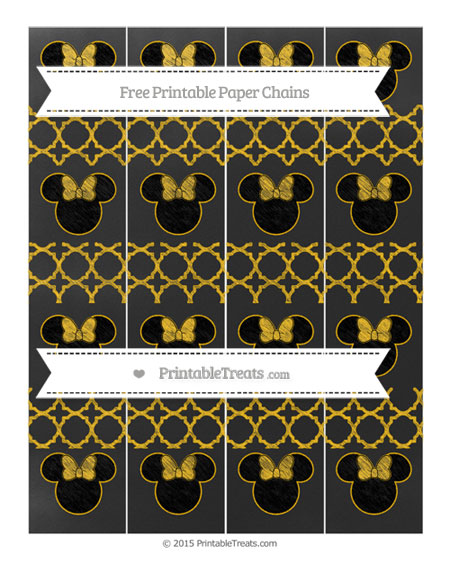 Free Amber Quatrefoil Pattern Chalk Style Minnie Mouse Paper Chains