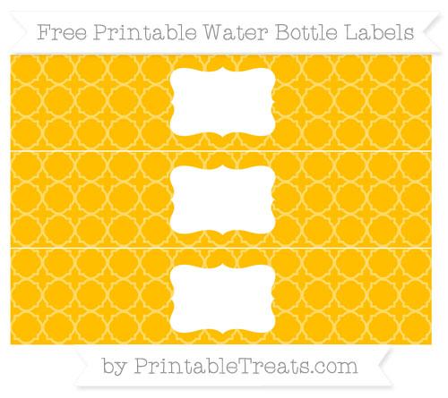 Free Amber Quatrefoil Pattern Water Bottle Labels