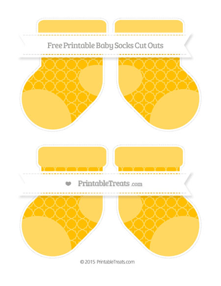 Free Amber Quatrefoil Pattern Medium Baby Socks Cut Outs