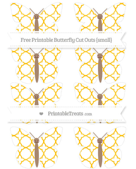 Free Amber Quatrefoil Pattern Small Smiley Butterfly Cut Outs