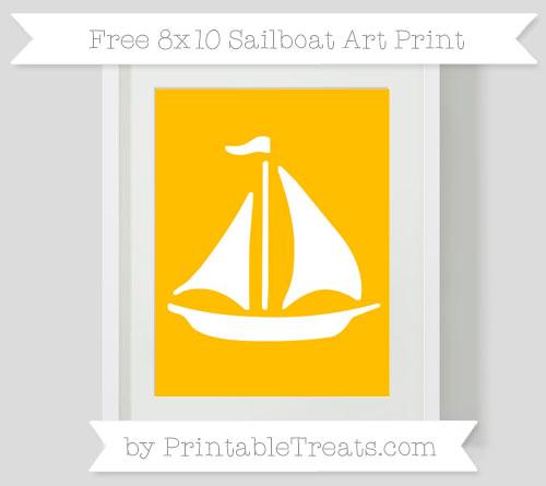 Free Amber Sailboat 8x10 Art Print