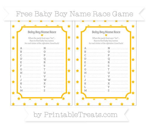 Free Amber Star Pattern Baby Boy Name Race Game