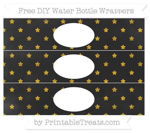 Free Amber Star Pattern Chalk Style DIY Water Bottle Wrappers