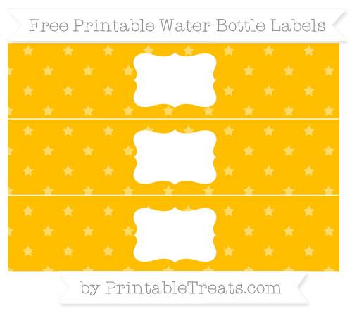 Free Amber Star Pattern Water Bottle Labels