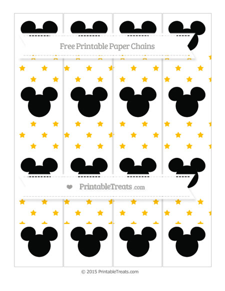 Free Amber Star Pattern Mickey Mouse Paper Chains