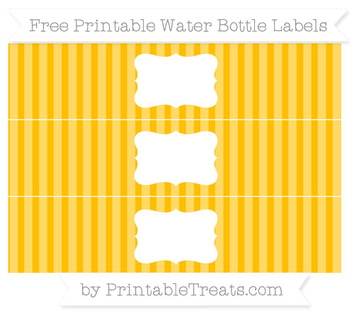 Free Amber Striped Water Bottle Labels