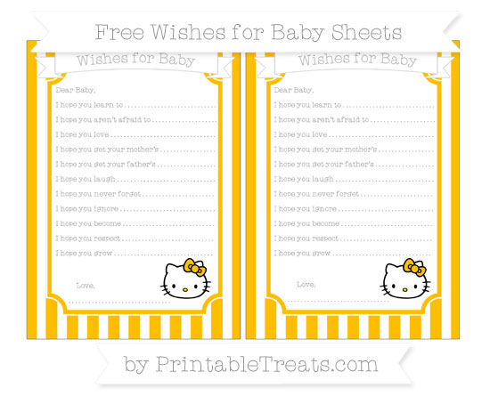 Free Amber Striped Hello Kitty Wishes for Baby Sheets