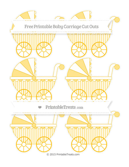 Free Amber Striped Small Baby Carriage Cut Outs
