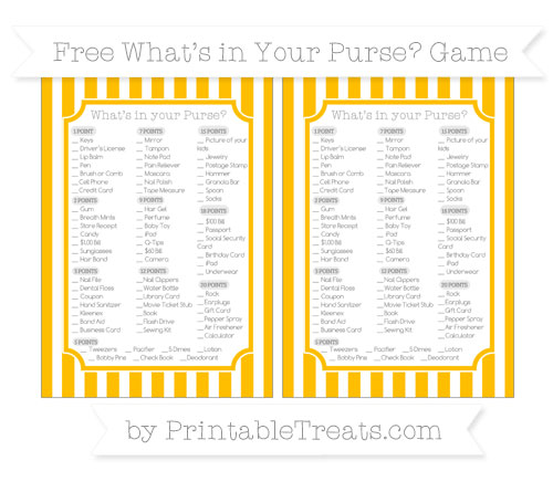 Free Amber Striped What's in Your Purse Baby Shower Game