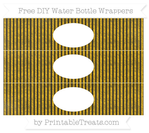 Free Amber Thin Striped Pattern Chalk Style DIY Water Bottle Wrappers