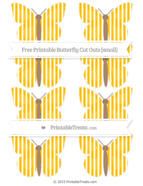 Free Amber Thin Striped Pattern Small Butterfly Cut Outs
