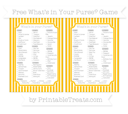 Free Amber Thin Striped Pattern What's in Your Purse Baby Shower Game