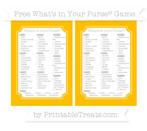 Free Amber What's in Your Purse Baby Shower Game