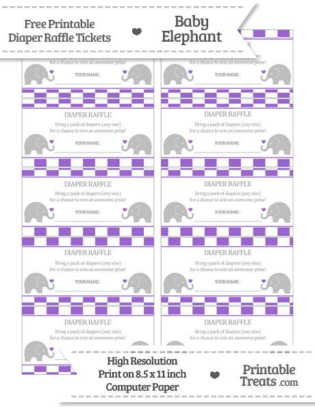 Free Amethyst Checker Pattern Baby Elephant Diaper Raffle Tickets