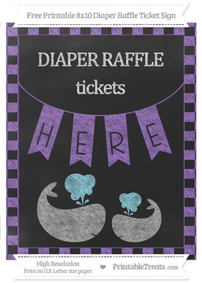 Free Amethyst Checker Pattern Chalk Style Baby Whale 8x10 Diaper Raffle Ticket Sign