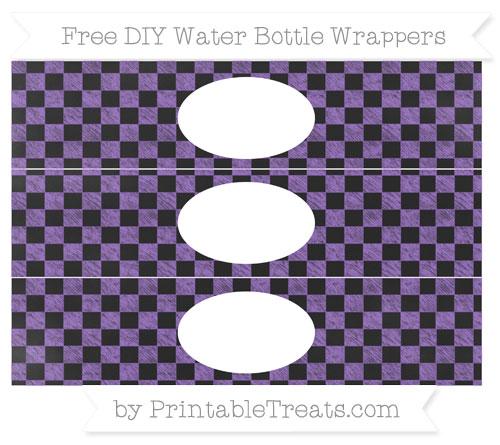 Free Amethyst Checker Pattern Chalk Style DIY Water Bottle Wrappers